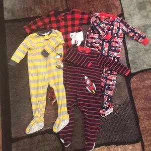 18 month footed pajama bundle